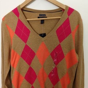 Tommy Hilfiger Argyle L Pima Cotton V-Neck Sweater